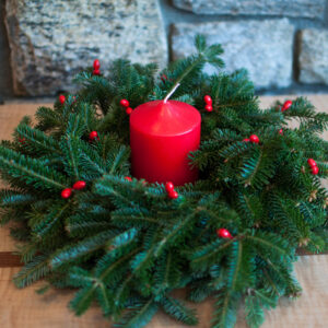 christmas wreath candle centerpiece